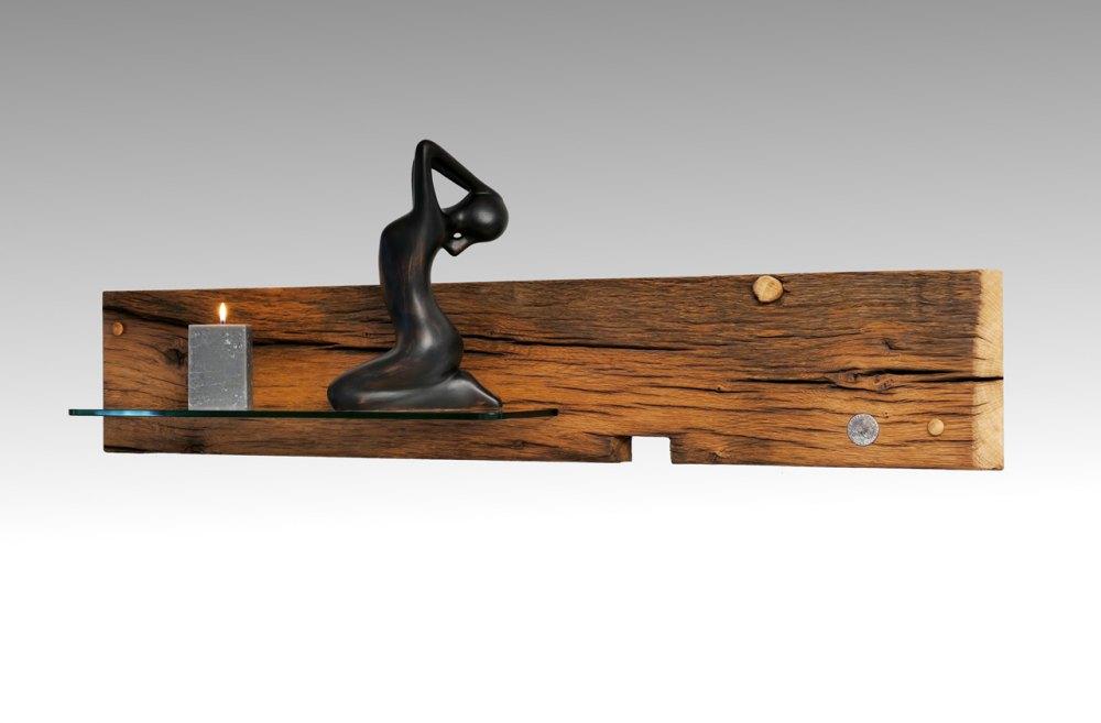dekoratives wandregal aus altholz eiche altholzmoebel. Black Bedroom Furniture Sets. Home Design Ideas